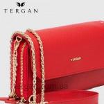 Клатч женский TERGAN 79671 Кожаный на два отделения на молнии KIRMIZI LATIGO Красный/Розовый